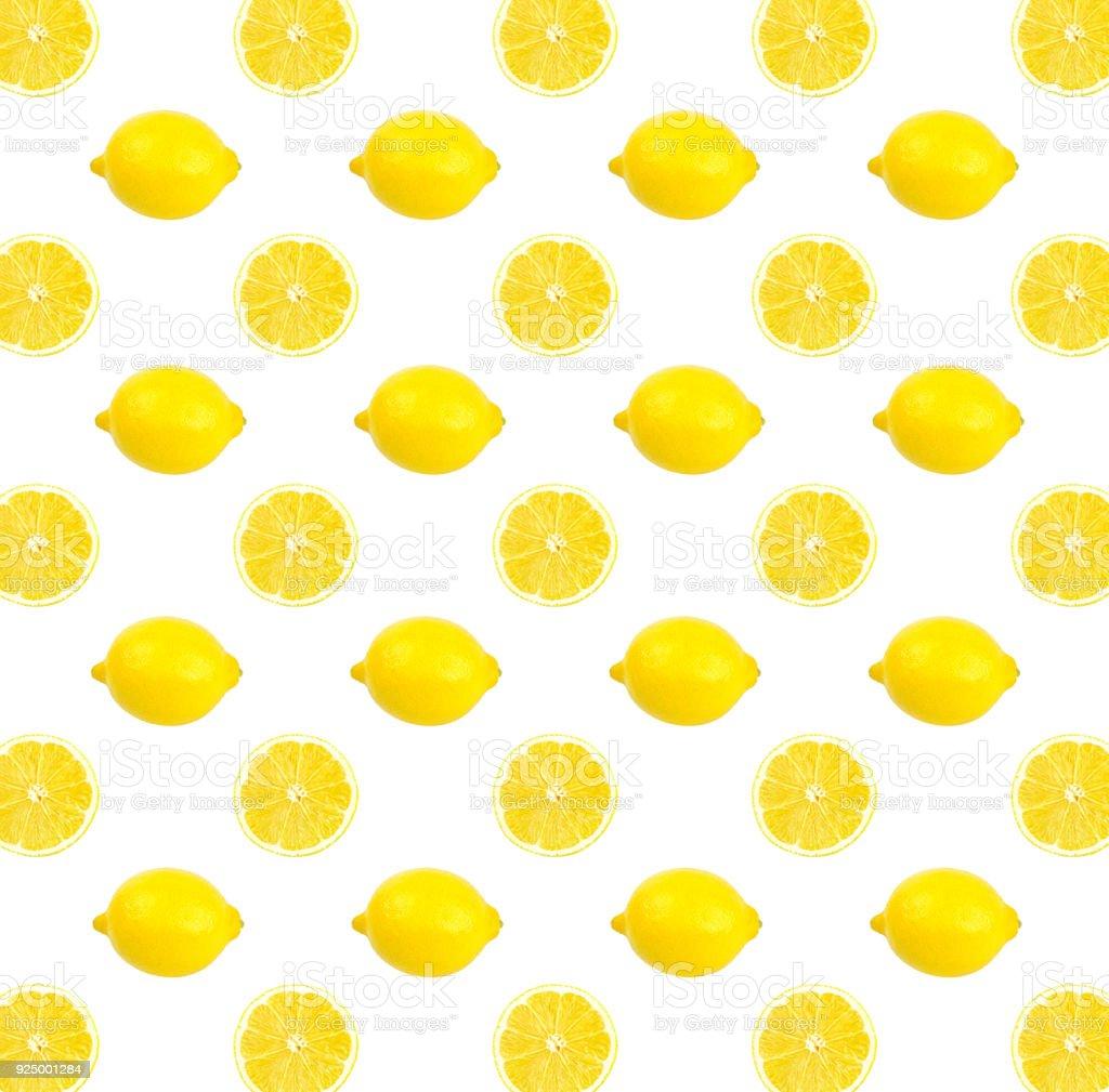 レモン イエローの写真パターンレモン壁紙白い背景に分離 かんきつ類