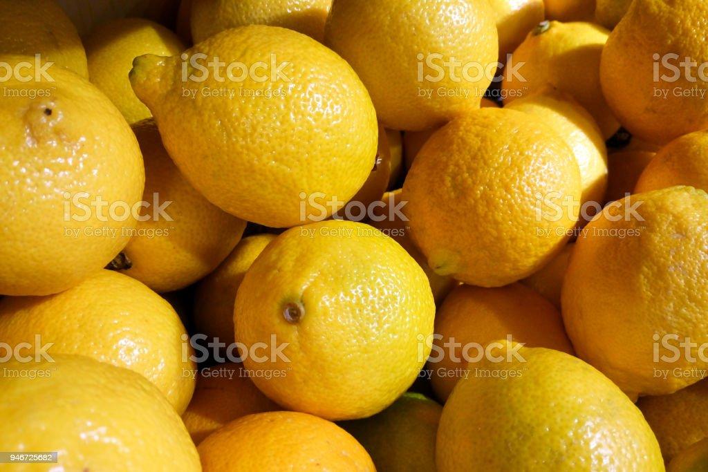 fresh Yellow Lemons background stock photo