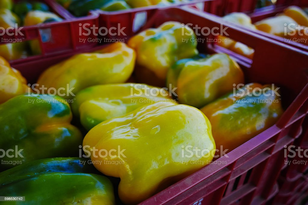 Fresh yellow paprika peppers in boxes in whole sale market photo libre de droits