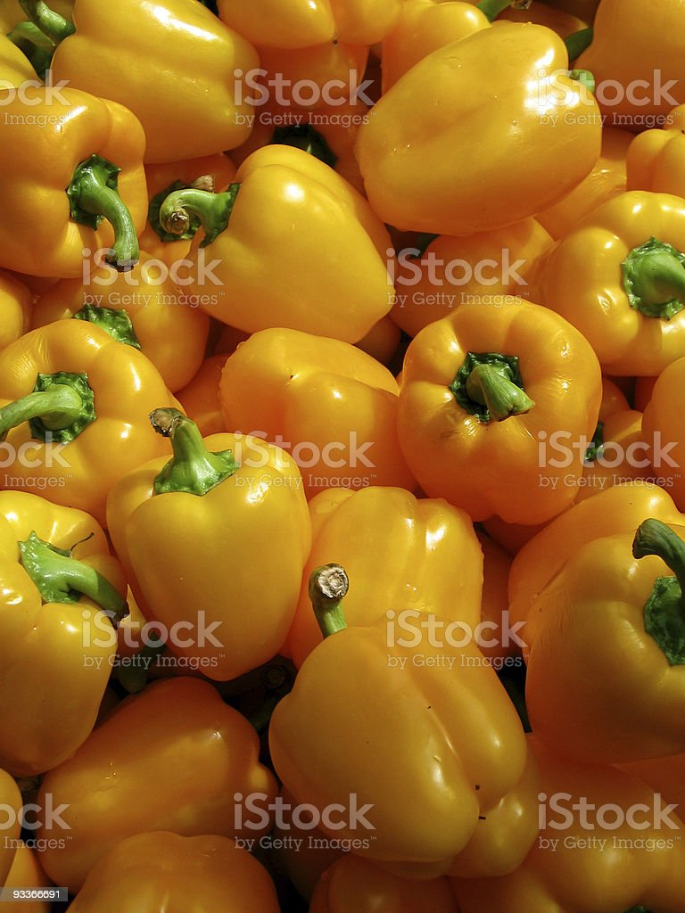 Fresh yellow peppers for sale royalty-free stock photo