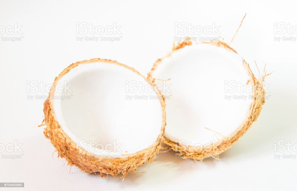 Fresh young coconut, Coconut shell, Young coconut shell isolated on white background. stock photo