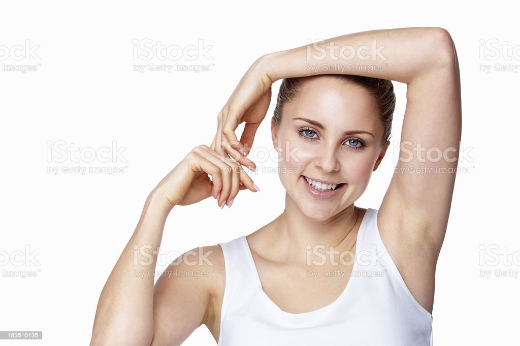 Fresh young girl posing against white background - copyspace royalty-free stock photo