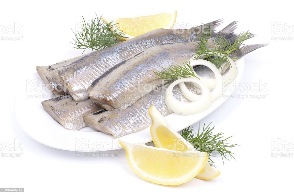Fresh young herrings stock photo
