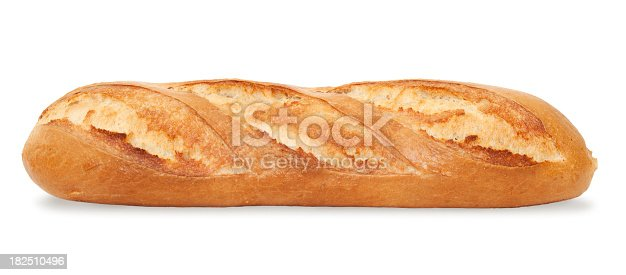 French Bread Baguette isolated on white
