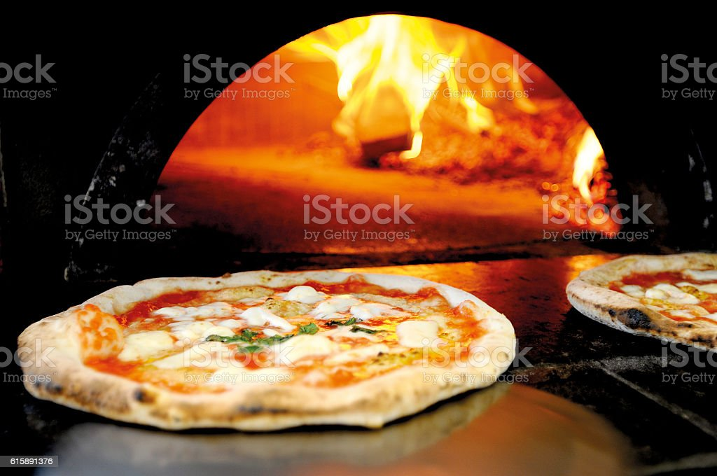 Fresh-cooked pizza stock photo