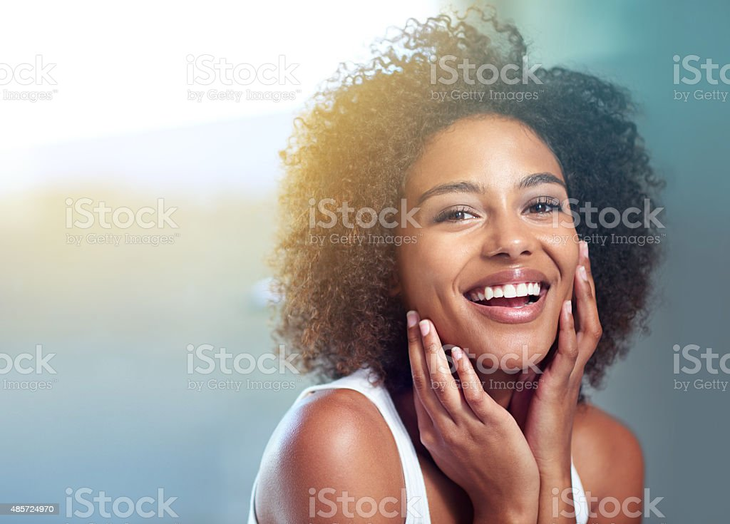 Fresh-faced and loving it stock photo
