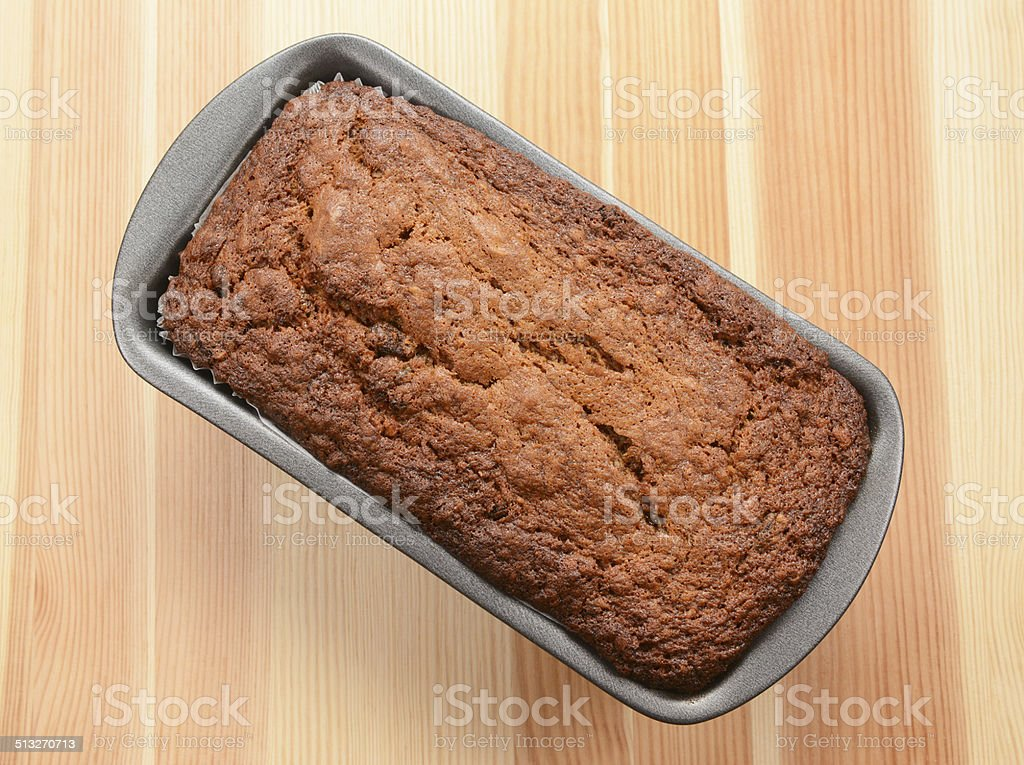 Freshly baked banana bread stock photo