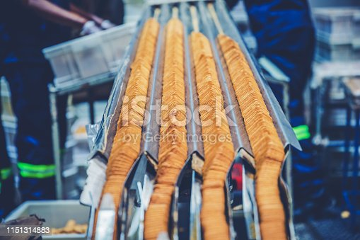 Factory, Food Industry, Production Line - Freshly Baked Biscuits Traveling Down the Production Line for Final Inspection and Packaging