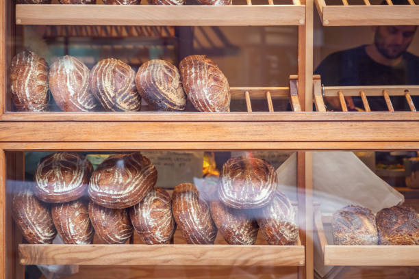 Freshly baked bread loaves on display around Broadway market, London Field stock photo