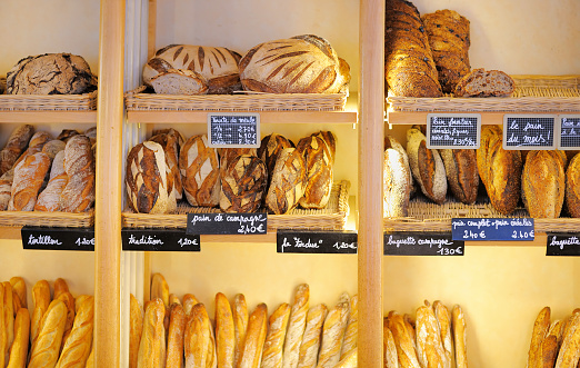 Freshly Baked Breads In French Bakery Stock Photo - Download Image Now