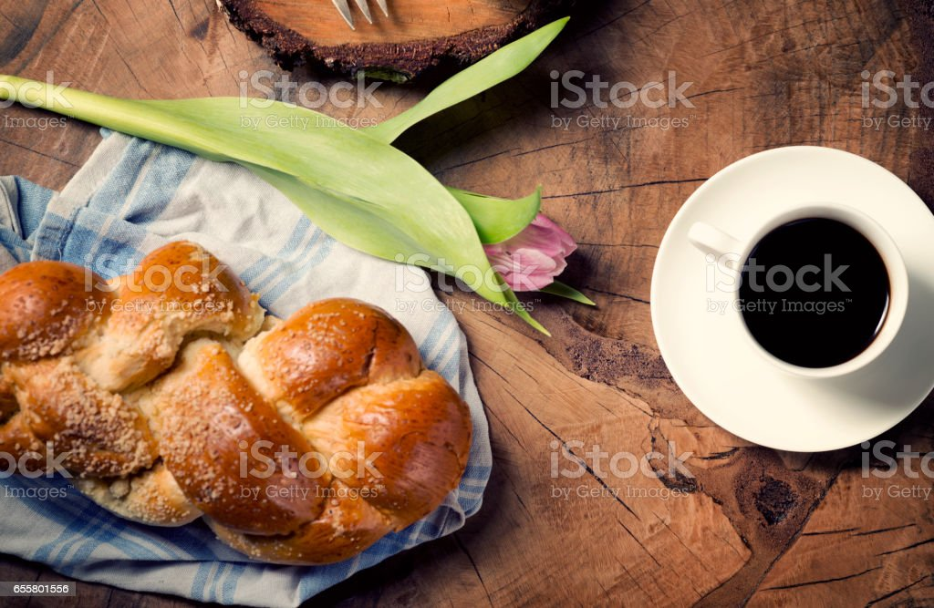 Freshly baked Challah loaf stock photo