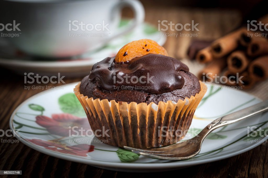 Freshly baked chocolate muffins. royalty-free stock photo
