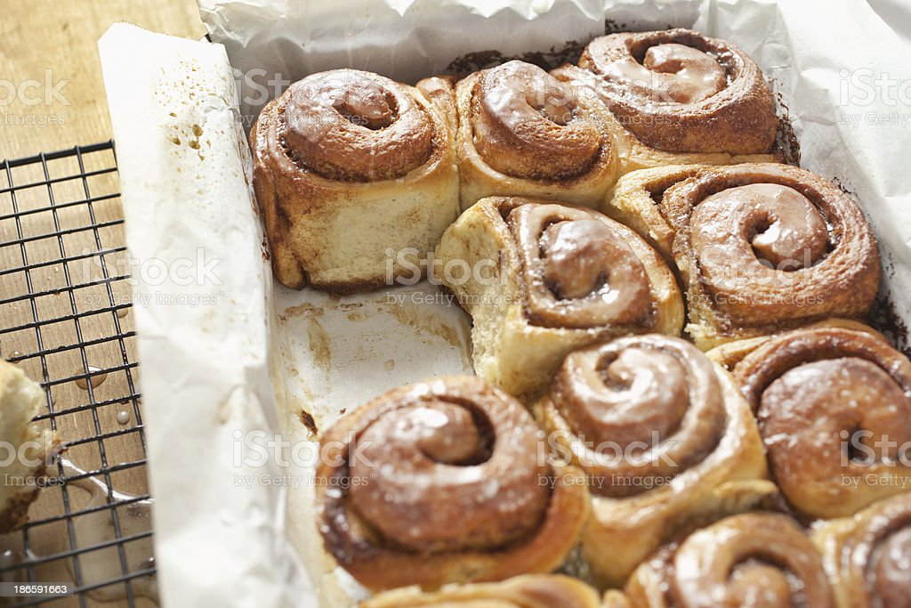 Freshly baked cinnamon rolls royalty-free stock photo