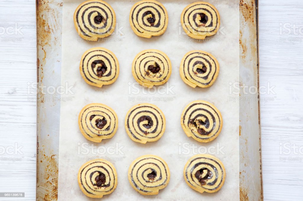 Freshly baked cookies on a baking sheet, closeup. From above, top view. royalty-free stock photo