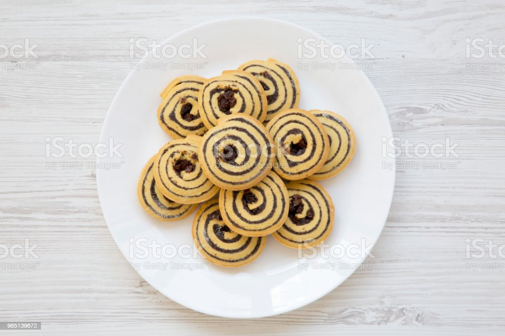 Freshly baked cookies on a plate, top view. Flat lay. royalty-free stock photo