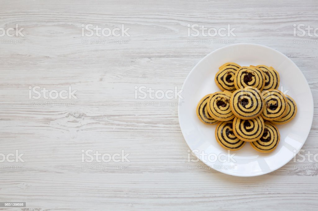 Freshly baked cookies on a plate with copy space,top view. From above. Flat lay. royalty-free stock photo