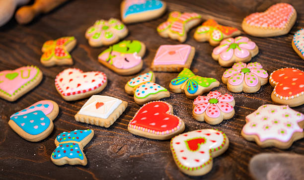 Freshly baked cookies Close up image of freshly baked and decorated cookies sugar cookie stock pictures, royalty-free photos & images