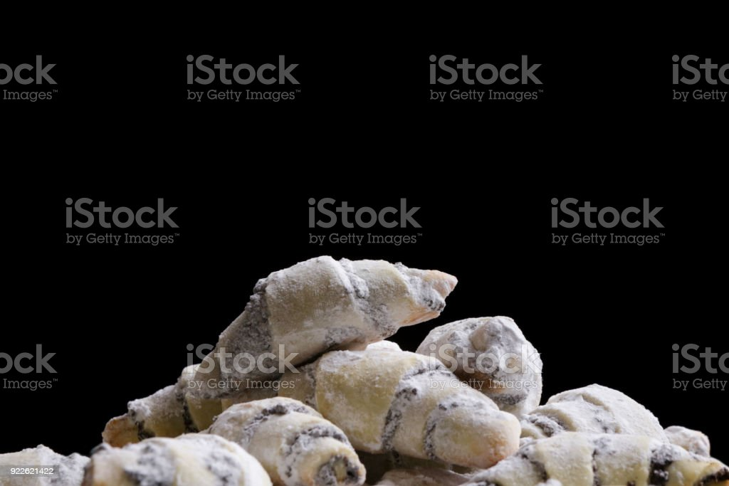 Freshly baked cookies with powdered sugar stock photo