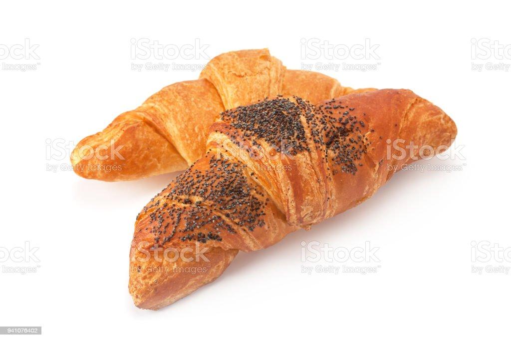 Freshly baked croissants. stock photo