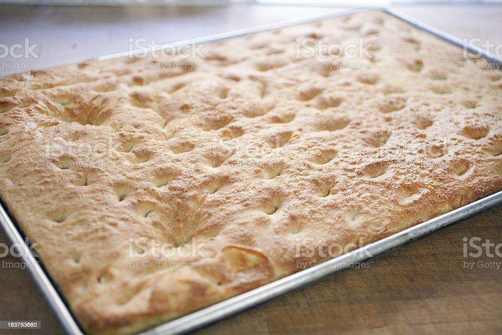 freshly baked foccacia bread stock photo