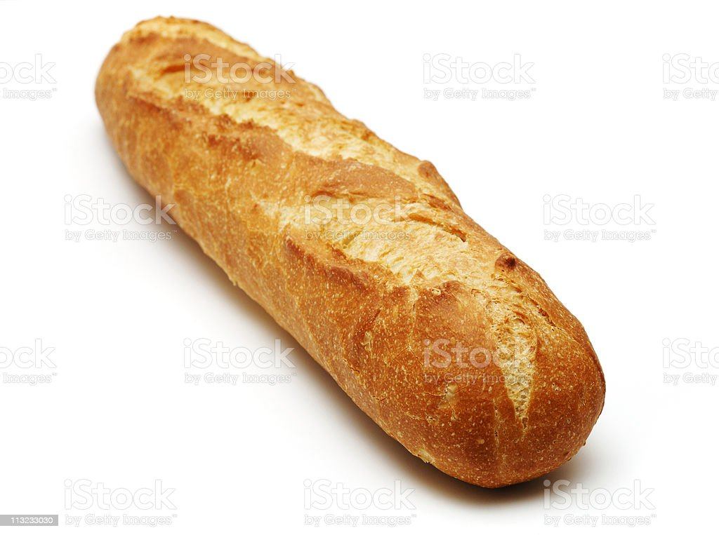 freshly baked French stick bread isolated against white royalty-free stock photo