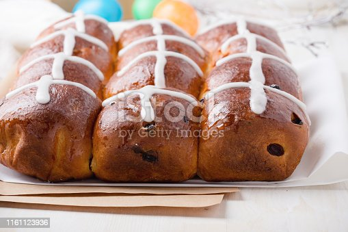 1131445181 istock photo Freshly baked homemade hot cross buns 1161123936