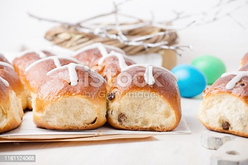 1131445181 istock photo Freshly baked homemade hot cross buns 1161124068