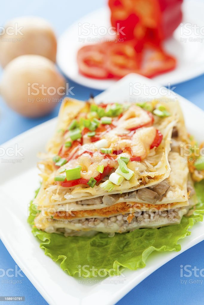 Freshly baked homemade lasagna with vegetables and cheese royalty-free stock photo