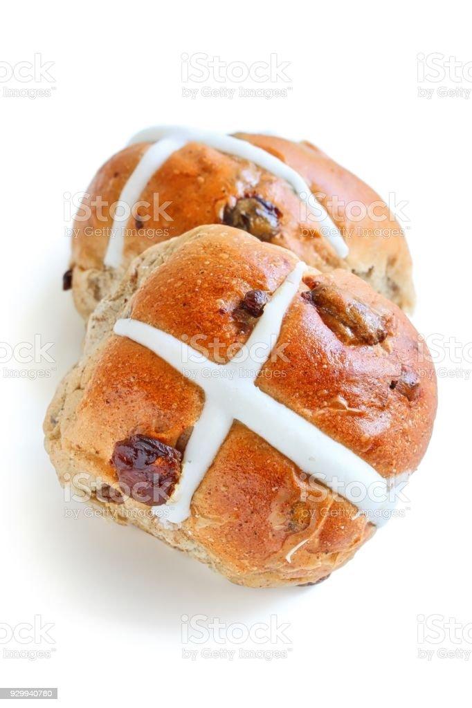 Freshly Baked Hot Cross Bun stock photo