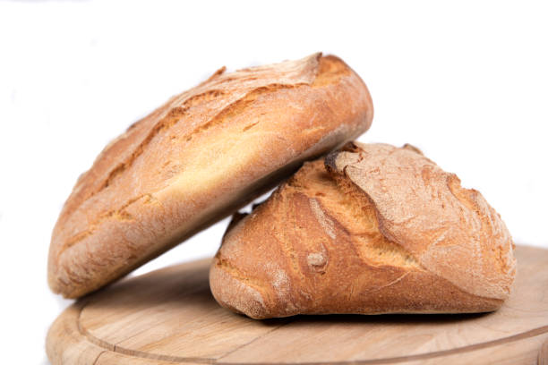 Freshly baked loaf of bread stock photo