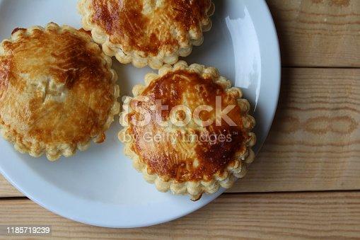 istock Freshly baked 'Mattentaarten', Belgian cake. 1185719239