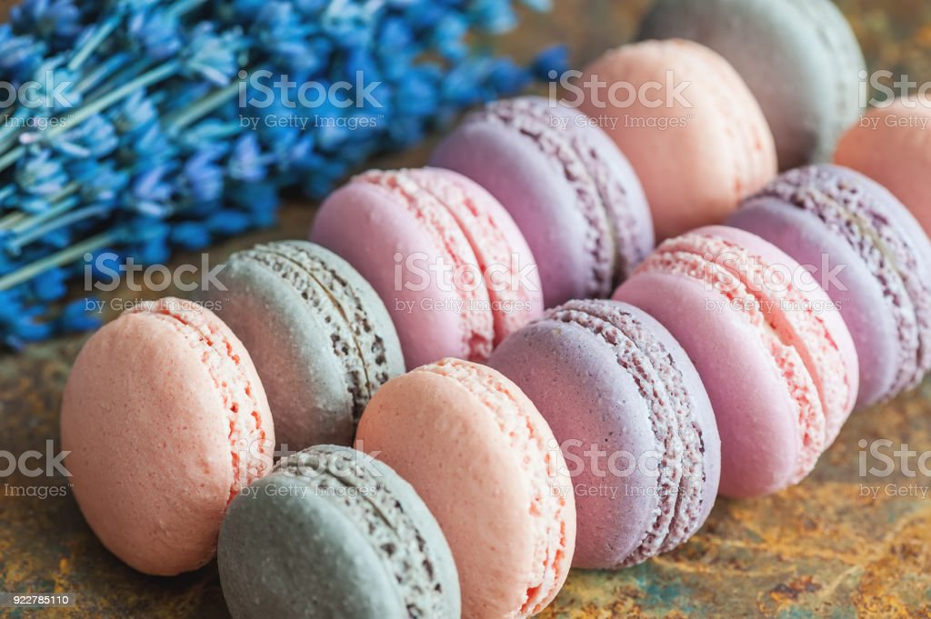 Freshly Baked Multicolored Berry Macaroons Closeup With ...