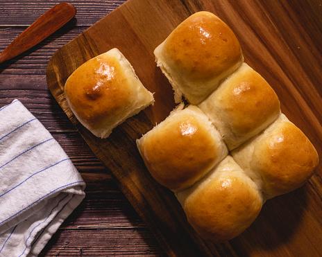 Freshly baked eggless dinner rolls