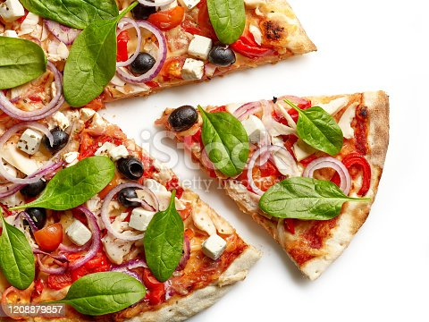 freshly baked pizza, top view
