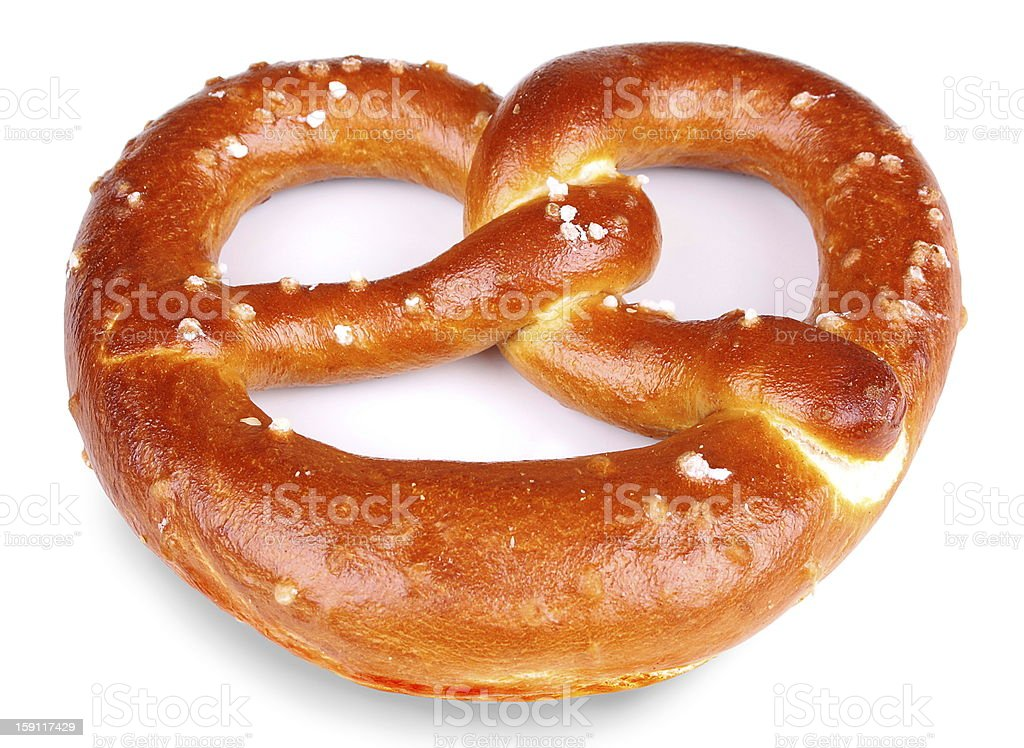 Freshly baked pretzel on white background royalty-free stock photo
