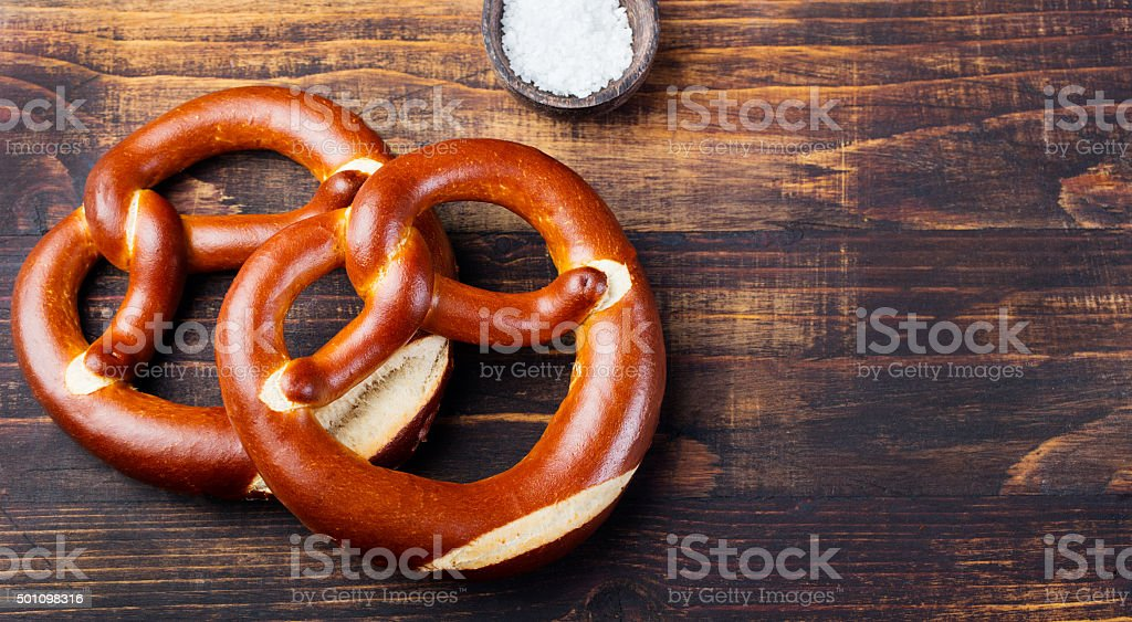 Freshly baked soft pretzel from Germany stock photo