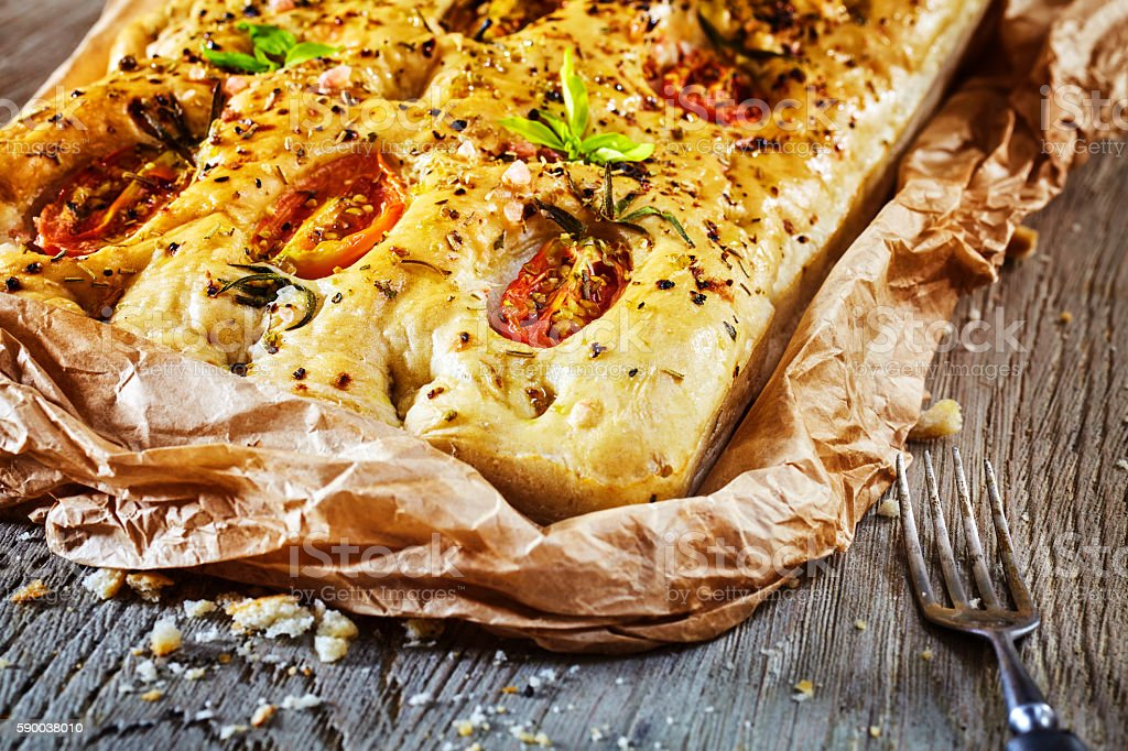 Freshly baked traditional Italian focaccia. stock photo