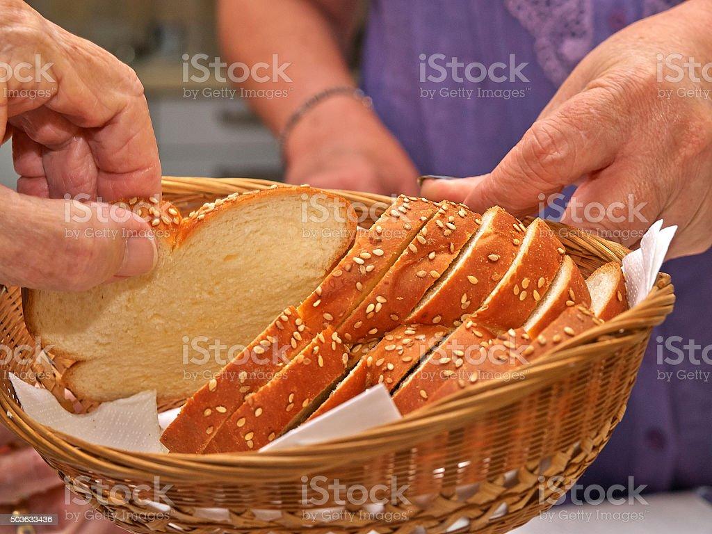 Freshly baked traditional Jewish Challah bread stock photo