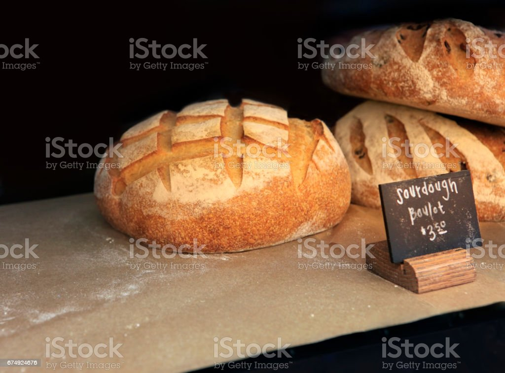 Freshly baked white bread on the counter of Market royalty-free stock photo