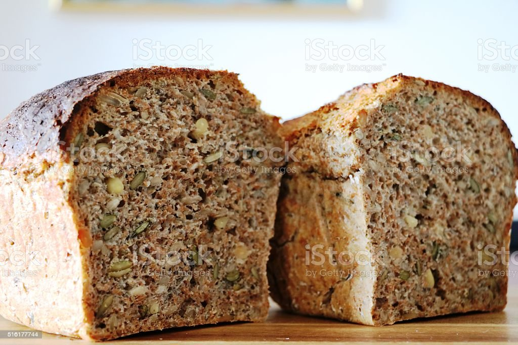 freshly baked whole grain bread stock photo