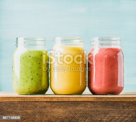 istock Freshly blended fruit smoothies of various colors and tastes 667748908