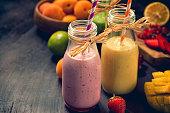 Freshly blended fruits and vegetables smoothies
