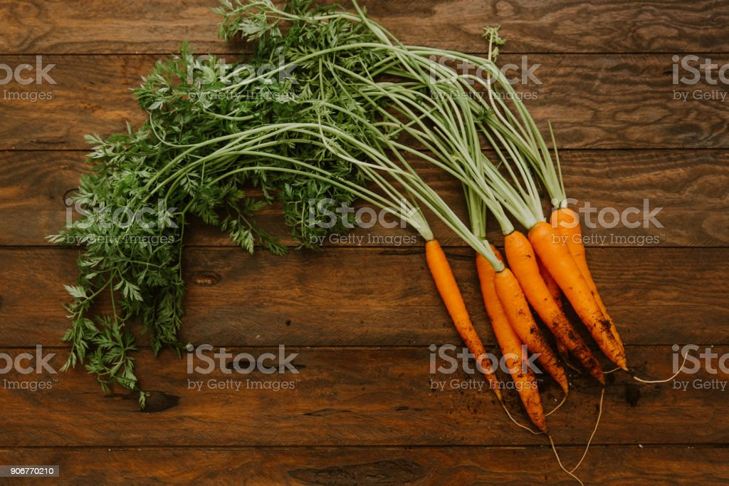 Freshly  carrots on old wooden table stock photo