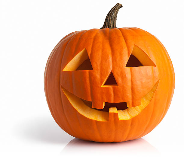 Freshly Carved Jack-o-Lantern Pumpkin Isolated on White Jack-o-lantern isolated with shadow and reflection. Clipping path provided. pumpkin stock pictures, royalty-free photos & images