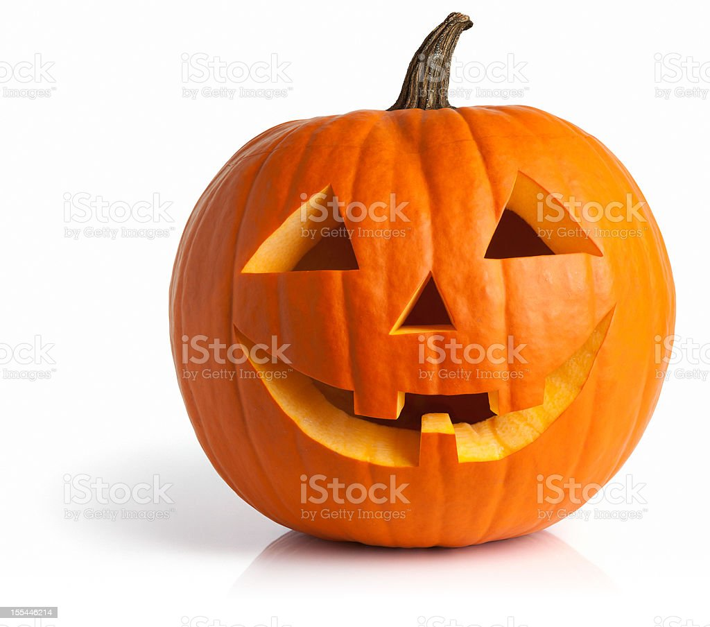 Freshly Carved Jack-o-Lantern Pumpkin Isolated on White stock photo