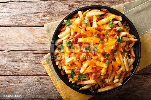 Freshly cooked French fries baked with cheddar cheese, bacon and parsley closeup on a plate. horizontal top view from above