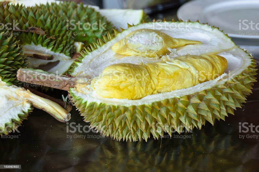 Freshly cut durian stock photo