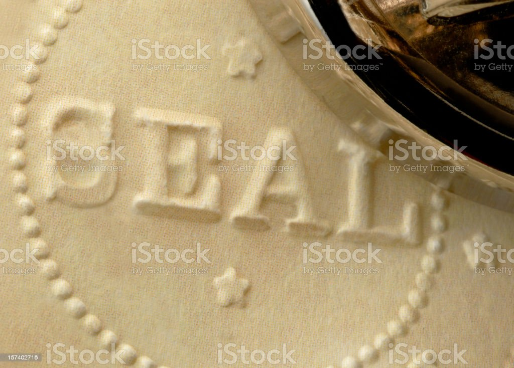 Freshly Embossed Official Corporate, Approval, Accreditation, or Notary Raised Seal stock photo