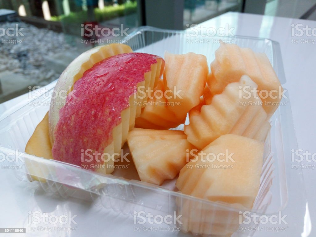 Freshly fruit in plastic box good for health royalty-free stock photo