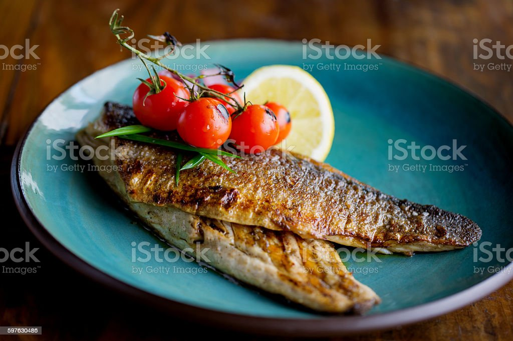 Freshly grilled trout stock photo